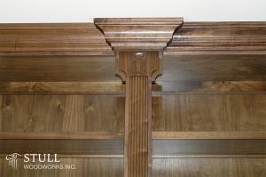 Walnut Library with Custom Carving