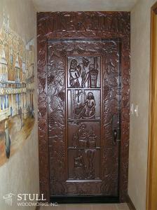Mahogany Wine Cellar Door with Custom Carving